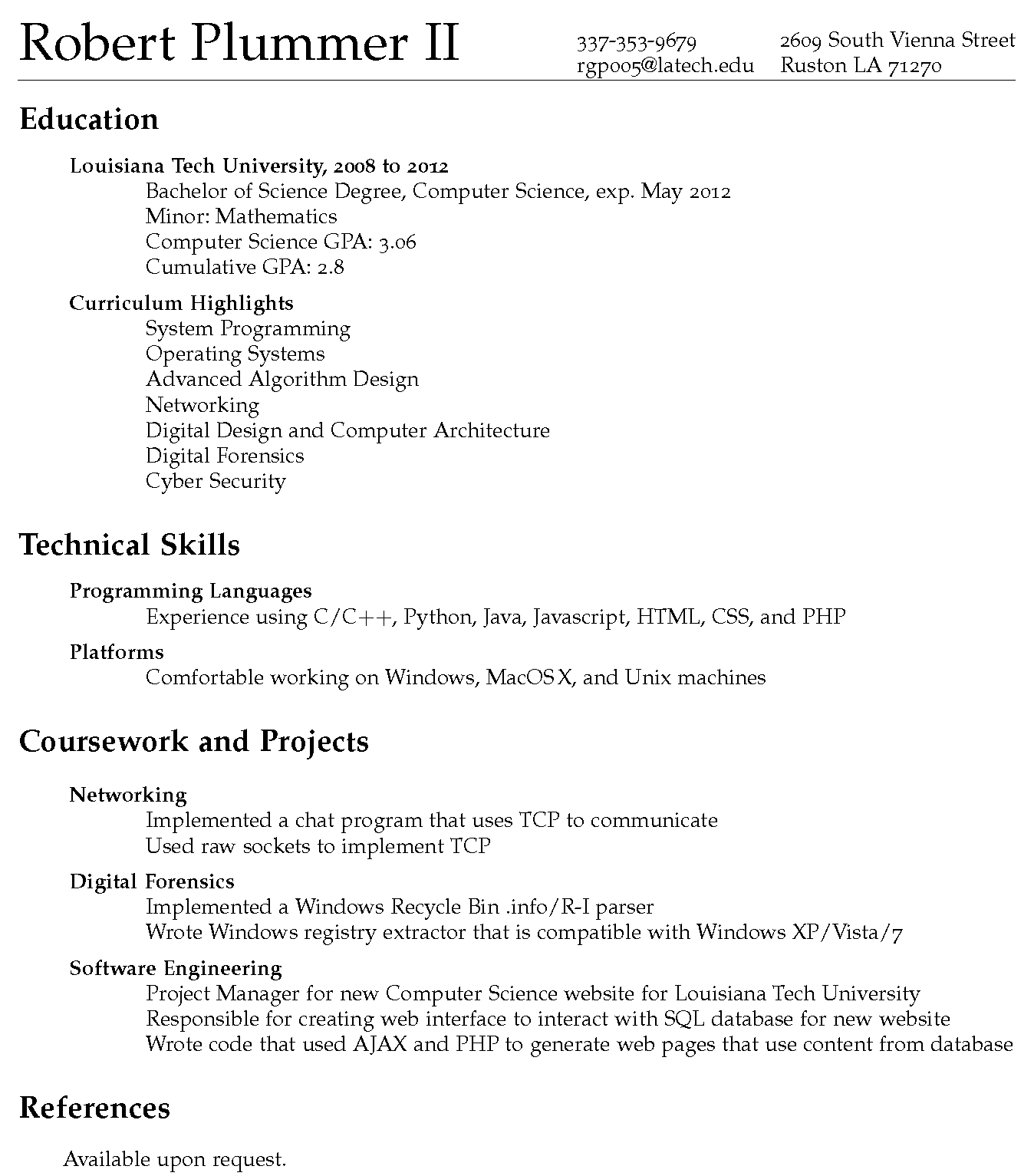 latex resume references