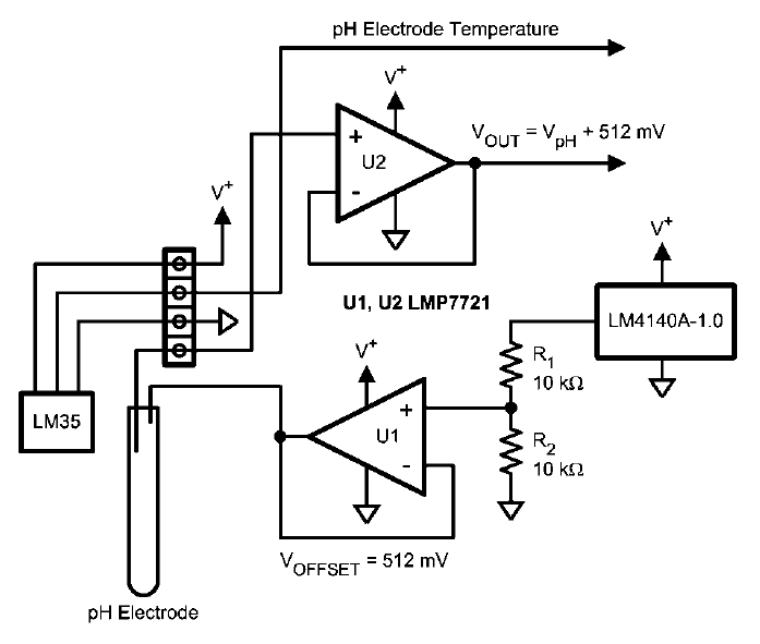 ph probe op amp circuit problem