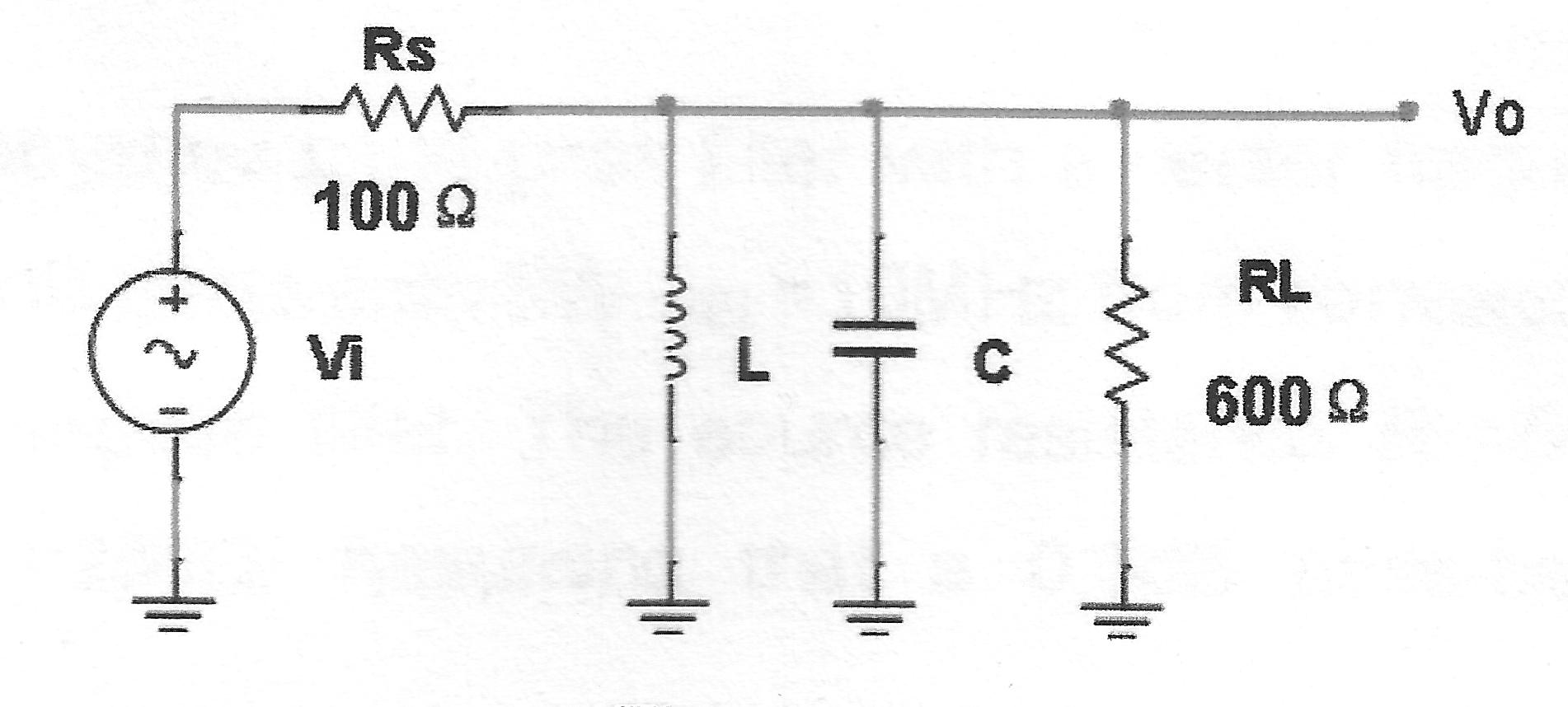 bandwidth parallel resonant circuit problem electrical engineering