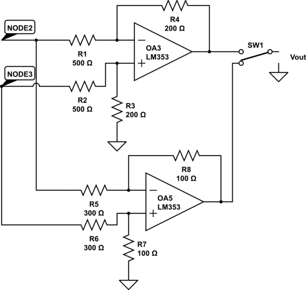 two op amps instrumentation amplifier circuit schematic