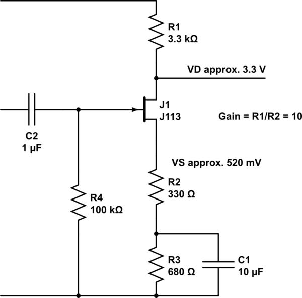 circuitlab jfet common source amplifier