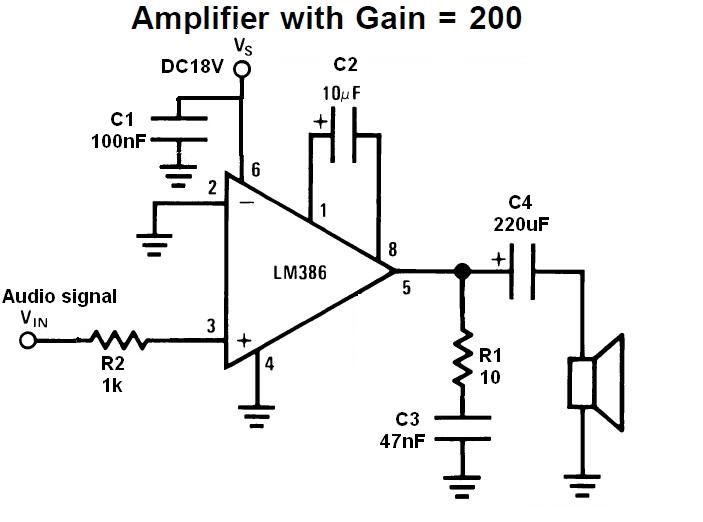 circuit diagram with gain 200