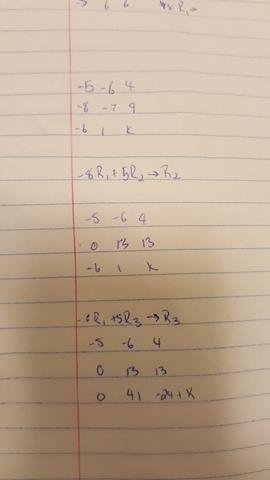 linear algebra - Find the value of K for which the given matrix has - value matrix