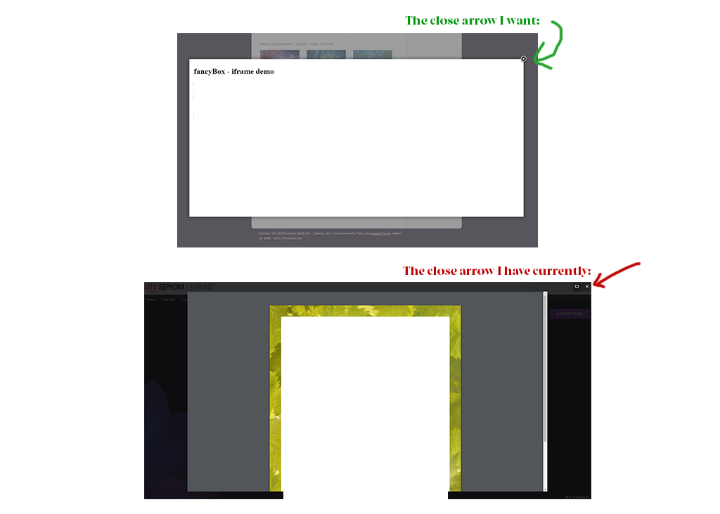 Html Fancybox Specify The Look Of The Close Buttons