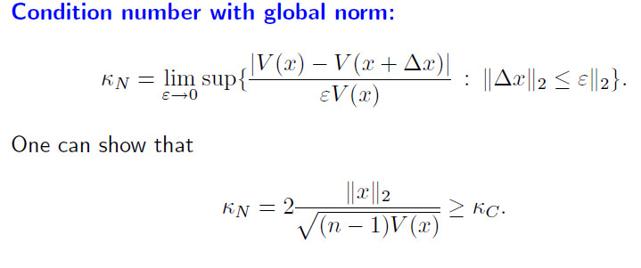 matrices - condition number with component-wise norm for the sample