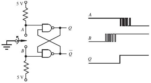 sr flip flop switch debounce circuit