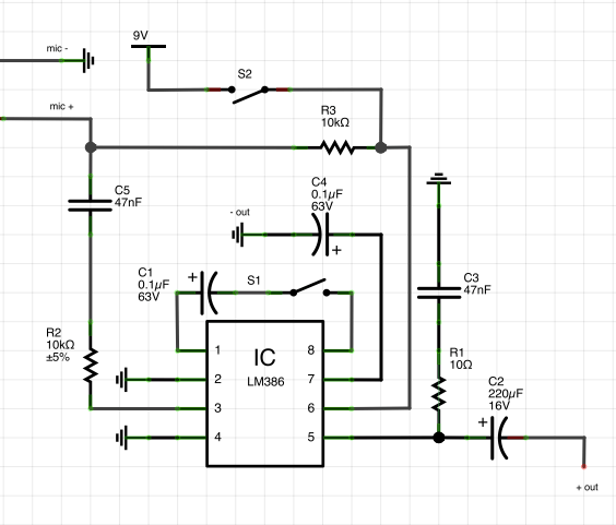 condenser microphone circuit lm386
