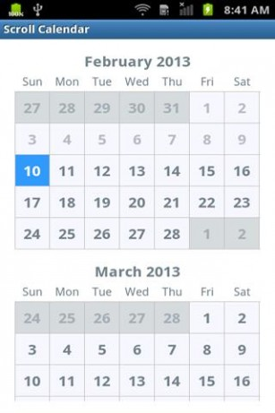 calendarview - Android scrollable calendar with full year - Stack