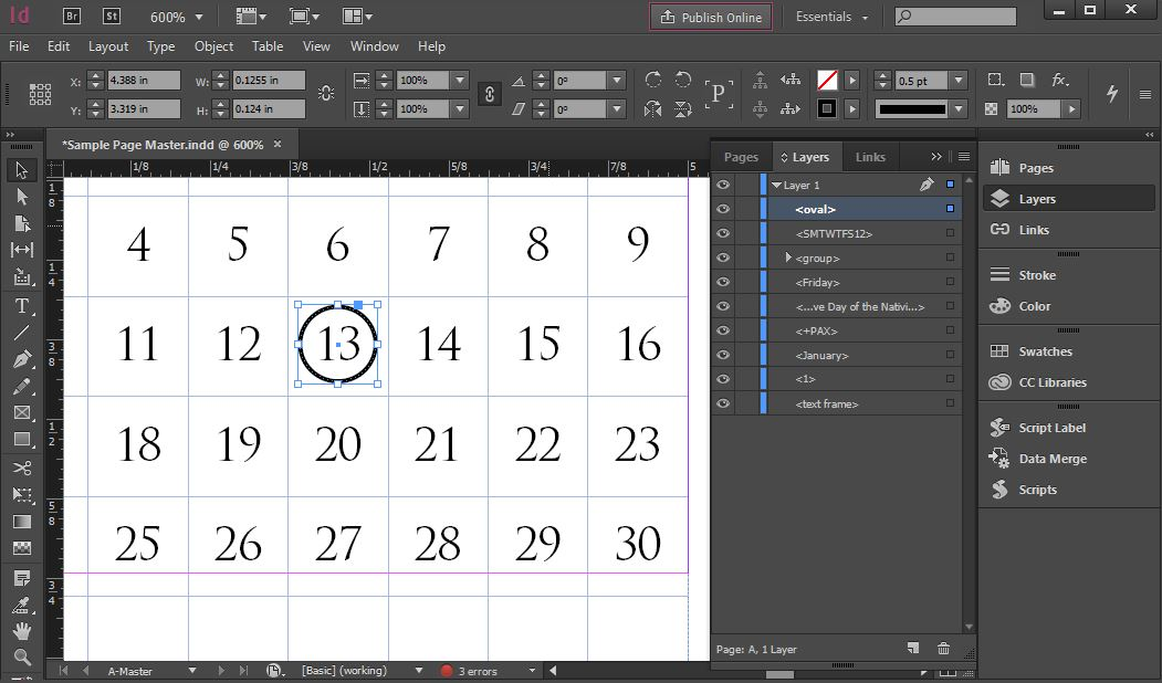 How do I position an InDesign object using Javascript? - Graphic - sample indesign calendar