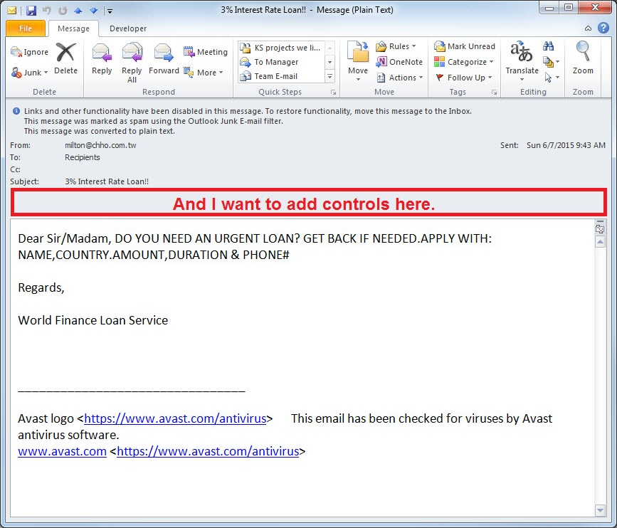 How can my Outlook VSTO Add-in modify the read email form? - Stack