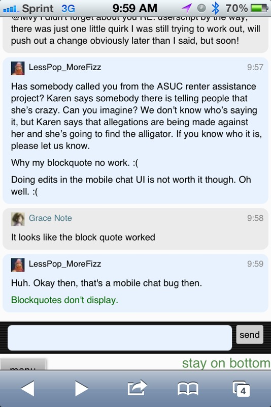 Blockquote formatting doesn\u0027t show up on mobile chat interface