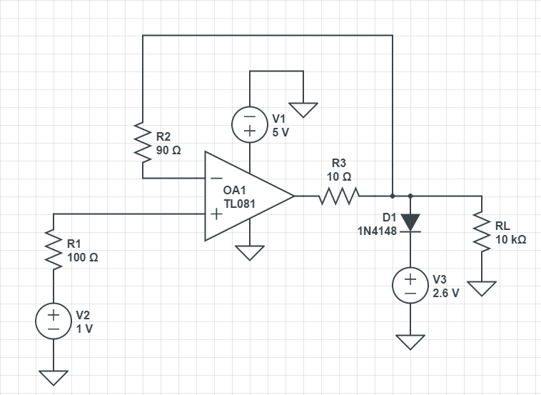 output voltage simulated with circuitlab