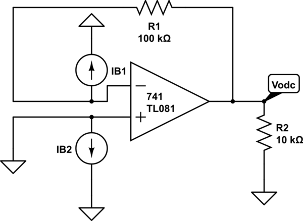 op amp solving for bias currents in non ideal op amp electrical