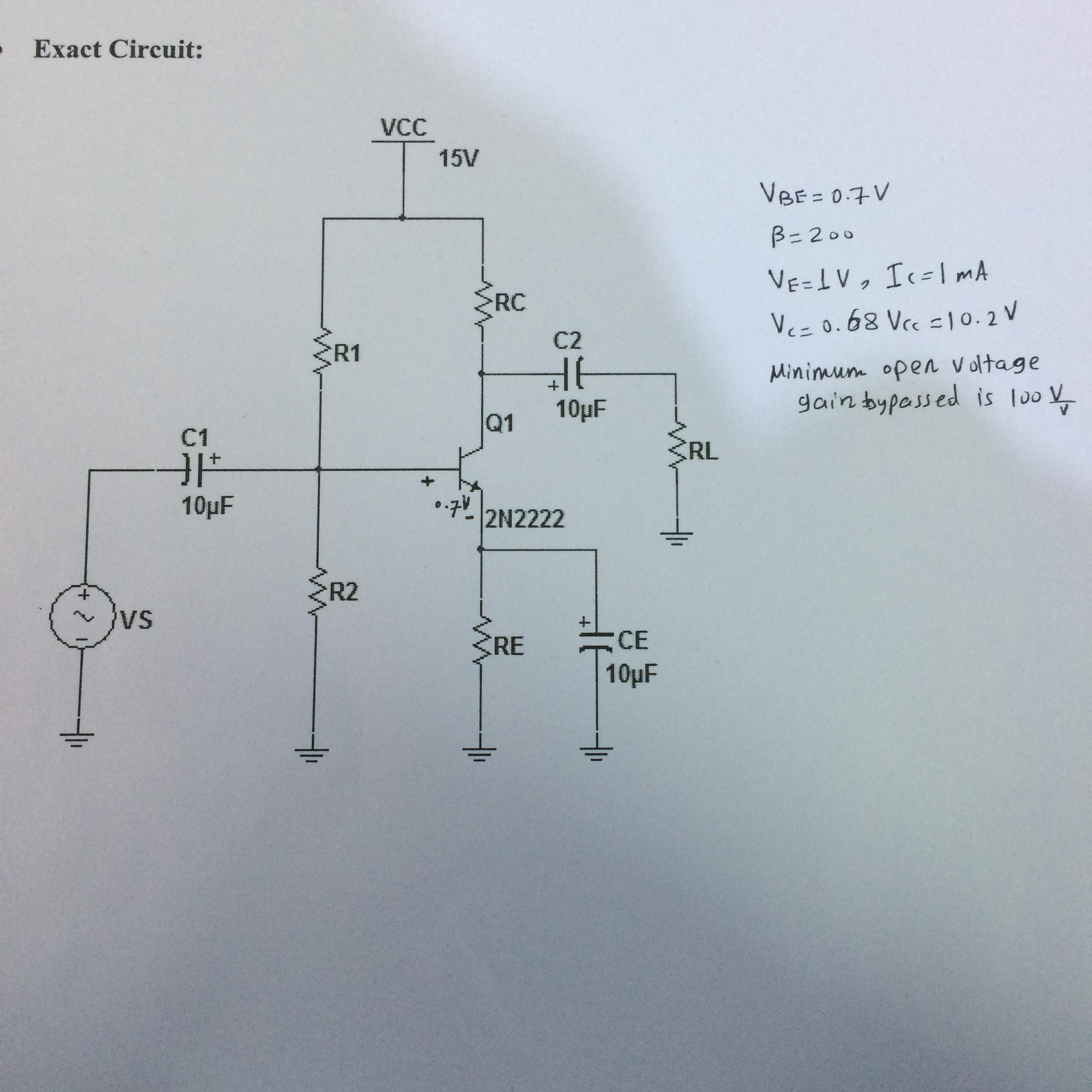 Transistors Common Emitter Audio Amplifier Auto Electrical Wiring Microphone Preamplifier With Bjt And Op Amp Youspice Designing A