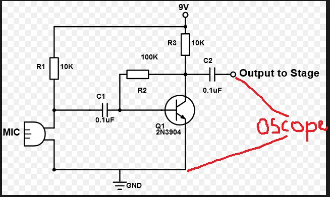 electret microphone and effect circuit