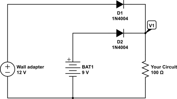 9v dc adapter with battery backup