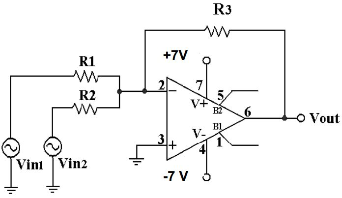 the circuit is ageneral summing amplifier