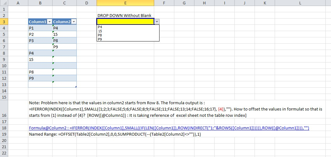 Issue while removing blank values in Excel data validation list drop