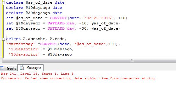 sql - tsql - Conversion failed when converting date and/or time from