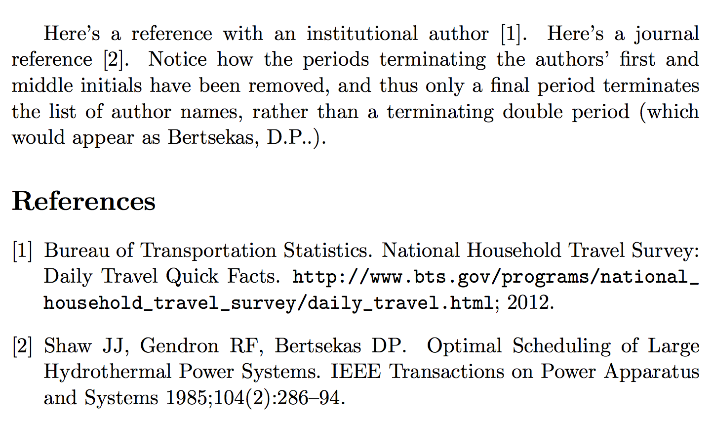 example reference list