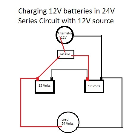 Charging 24V Battery with 12V Alternator and Isolator - Motor