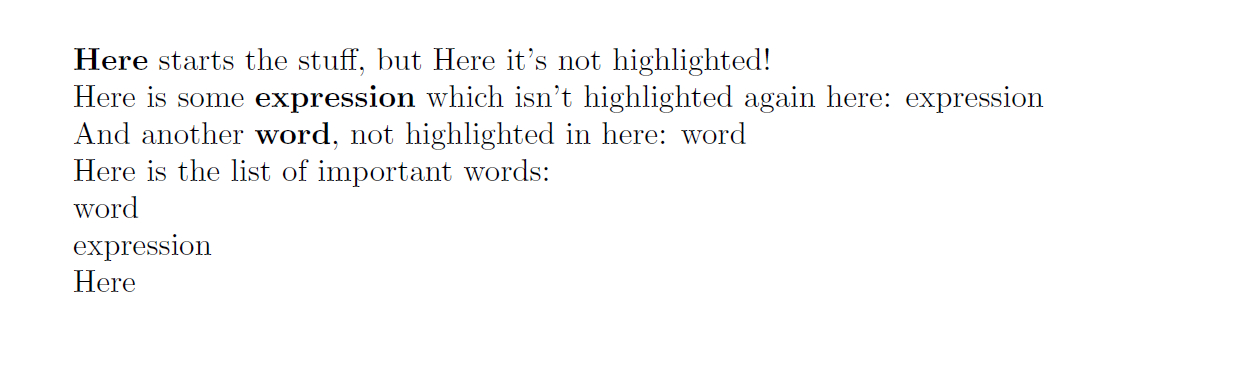 indexing - Highlighting words only the first time they appear - TeX