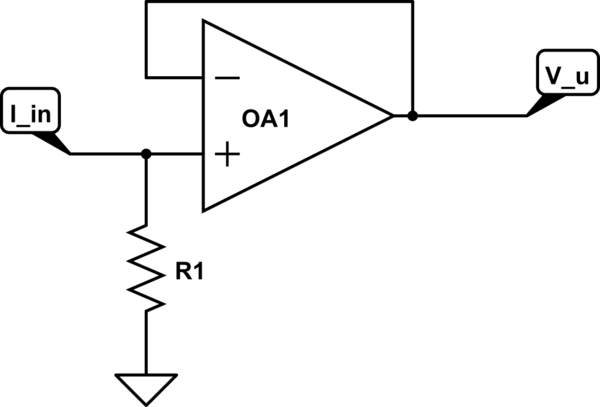 current to voltage converter circuit can be made using a single