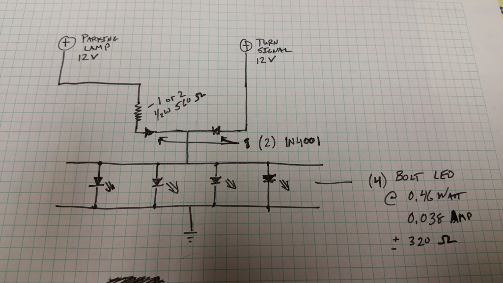 resistors - Help with Wiring LED Parking Light/Turn Signal using