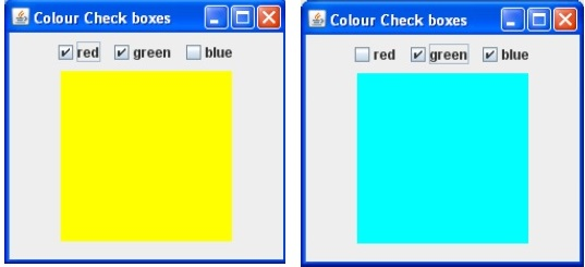 JPanel with 3 check boxes to set background color in the centre of