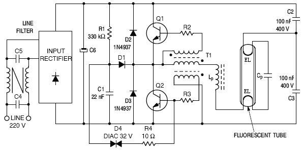 st13005 electronic ballast application diagram