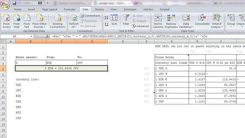 google docs - Formula for updated currency exchange rates in Excel - sample rate sheet template