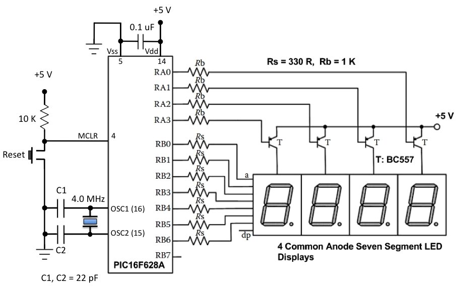 digital stopwatch with 7segment schematic schematic
