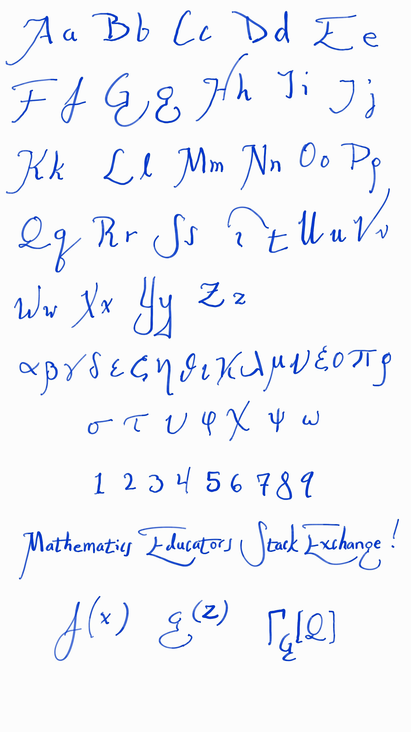 What Is A Good Handwriting Font For Mathematics Mathematics Educators Stack Exchange