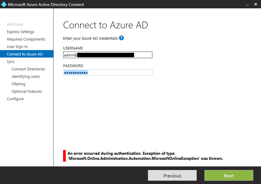 active directory - Azure AD Connect authentication exception