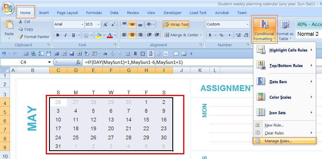 Dynamic monthly excel calendar - Super User