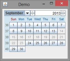 Add Or Substract Days To Current Date Using Java Calendar Swing How To Disable Or Highlight The Dates In Java