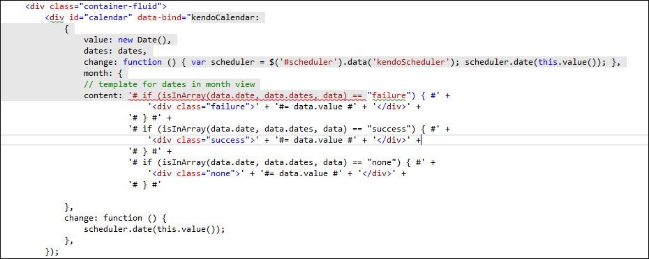javascript - Unable to Customize Kendo Calendar Month templates with