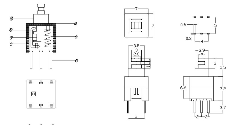 switches - Does Size of 6-Pin Tactile Switch Affect Spacing of Pins