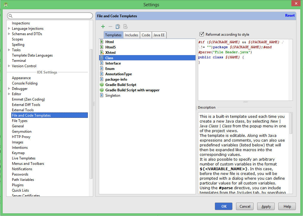 How to customize the JavaDoc template for method in Android Studio