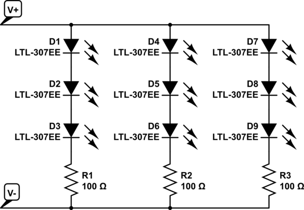 wiring diagram for two parallel led strip lights only 3 leds shown in
