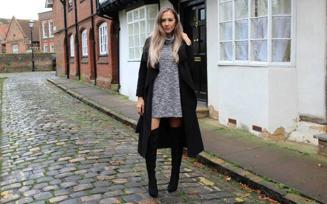 Picture Of With Gray Sweater Dress And Black Over The Knee