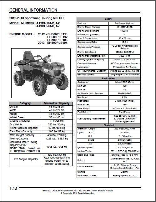 12-13 Polaris Sportsman 400 HO 500 Touring Forest ATV Service Repair