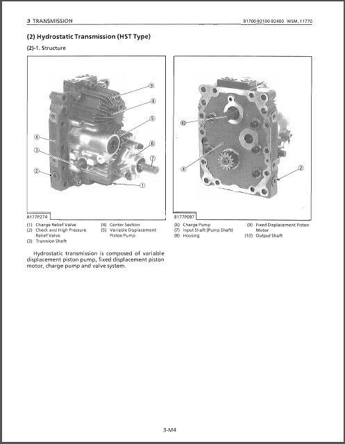 Kubota B1700 B2100 B2400 ( HSD - D ) Compact Tractor WSM Service