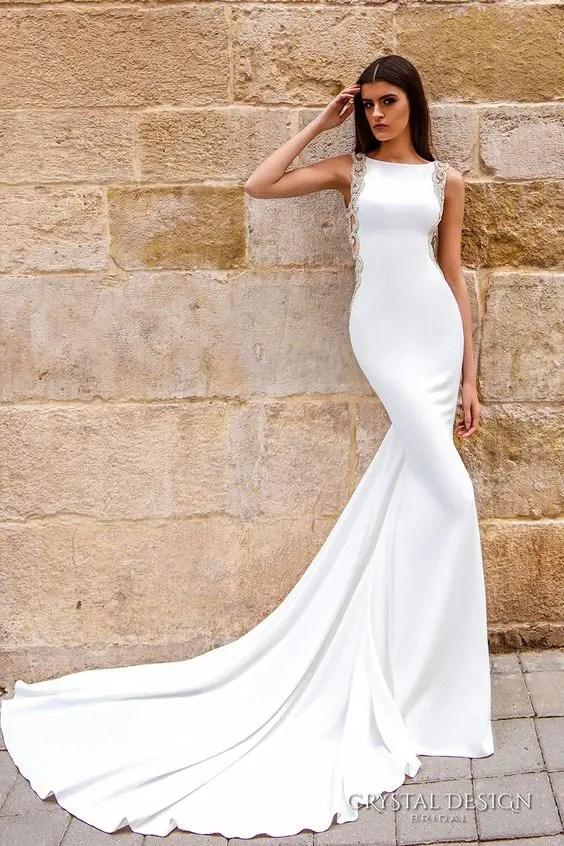 elegant bateau neckline dress with a train and embellishments