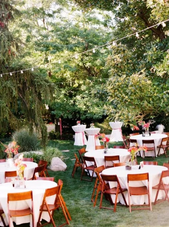 Picture Of backyard wedding reception with round tables