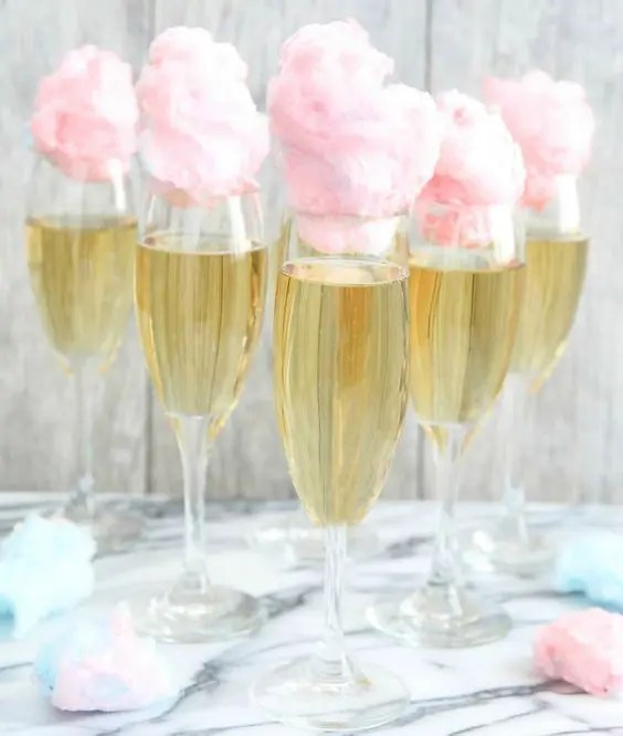 champagne served with cotton candy is wow for a girls' party