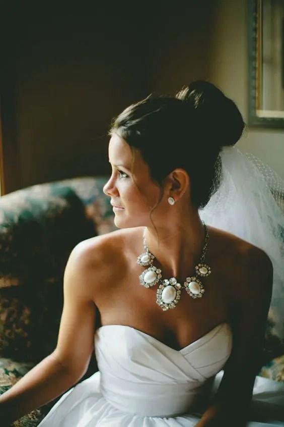 a fabulous rhinestone and wwhite gem necklace for s trapless neckline wedding dress