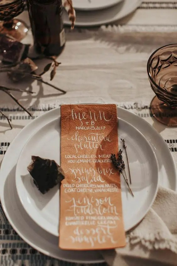 Picture Of a leather menu will make your place setting interesting