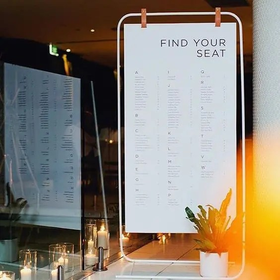 25 Modern And Creative Seating Chart Ideas - Weddingomania - a seating