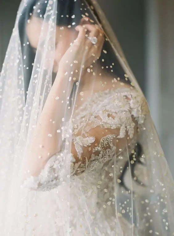 a bold pearly veil paired with a beaded dress for a super glam and formal wedding